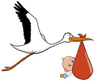 Stork and baby. A stork transporting newborn baby Stock Illustration