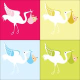 Stork with baby 4 color choices. Stylized Stork carrying waving  baby boy - girl  4 color choices gender  plus netural Stock Photos
