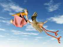 Stork with baby. A flying stork holding a baby in a blanket in its beak Stock Images