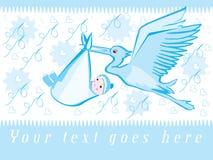 Stork and baby. Children's illustration of stork and baby boy in blue vector illustration