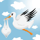 Stork with baby boy Royalty Free Stock Images