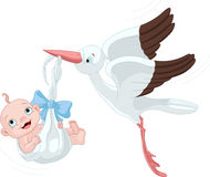 Stork And Baby Boy. Cute stork carrying a baby boy stock illustration