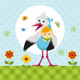 Stork with a baby boy in a bag Royalty Free Stock Photos