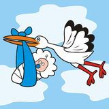Stork and baby - boy Stock Photo