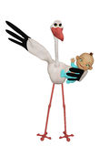 Stork with a baby boy Royalty Free Stock Photography
