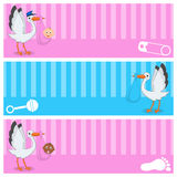 Stork with Baby Boy & Girl Banners Set Royalty Free Stock Photos