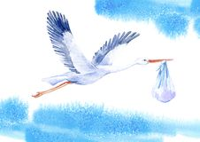 Stork with baby boy and sky. Newborn picture. Watercolor hand drawn illustration.White background stock illustration