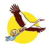 Stork with Baby Boy Sticker Royalty Free Stock Photos