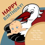 Stork and baby. Card. Colored Vector illustration. Stork with child. Card Royalty Free Stock Photo