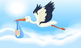 Stork baby delivering newborn boy. Illustration Stock Photography