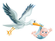 Stork and Baby Flying Cartoon. An illustration of a flying cartoon stork delivering a newborn baby. Classic metaphor for pregnancy or child birth Royalty Free Stock Image