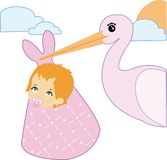 Stork and baby girl Stock Photography