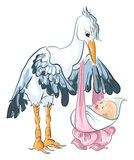 Stork with baby girl. Cute smiling stork delivering a baby girl Royalty Free Stock Photography
