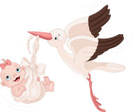 Stork And Baby Girl. Cute stork carrying a baby girl Royalty Free Stock Image