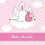 Stork with baby girl vector illustration