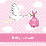 Stork with baby girl Royalty Free Stock Photography