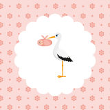 Stork with a baby girl in a bag Stock Photos