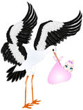 Stork with a baby girl in a bag. Royalty Free Stock Photo