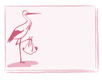 Stork with baby girl card vector Royalty Free Stock Photos