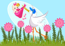 Stork and baby girl Stock Images