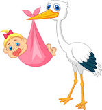 Stork with baby girl cartoon. Illustration of stork with baby girl cartoon Stock Image
