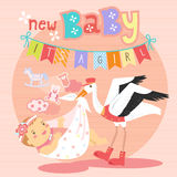 Stork with baby girl Royalty Free Stock Photos