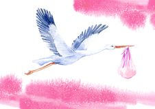 Stork with baby girl and sky.Newborn picture. Watercolor hand drawn illustration.White background vector illustration