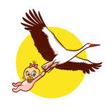Stork with Baby Girl Sticker Royalty Free Stock Image