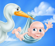 Stork and Baby Illustration. An illustration of a cartoon stork delivering a newborn baby. A classic metaphor for pregnancy or child birth Stock Images