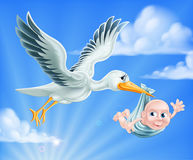 Stork and Baby Illustration. An illustration of a cartoon stork flying through the sky delivering a newborn baby. A classic metaphor for pregnancy or child birth Royalty Free Stock Photography
