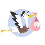 Stork Baby Illustration. Vector cartoon illustration of a stork carrying baby Royalty Free Stock Image