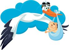 Stork with Baby Invitation Card Vector Cartoon Royalty Free Stock Photo