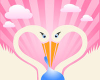 Stork and baby love symbol Royalty Free Stock Photography