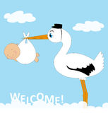 stork with baby Royalty Free Stock Photography