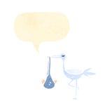 stork and baby retro cartoon Royalty Free Stock Image