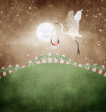 Stork and baby. A white bird carrying a baby to new parents as the man in the moon smiles while gazing at the baby.  They fly over a manicured lawn with white Stock Image