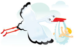 Stork with baby. White stork with a smiling child. Vector. Illustration Stock Photos