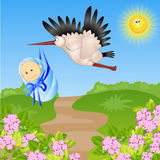 Stork bears the child. Funny vector illustration Royalty Free Stock Image