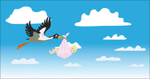 The stork bears the girl Royalty Free Stock Photography