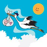 Stork bird and baby. Illustration of a stork birth carrying an infant wrapped in a sling held in its beak Royalty Free Stock Photos