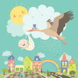 Stork bird with baby. Stork is flying in the sky with baby above the city. Vector illustration Royalty Free Stock Photography
