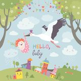 Stork bird with baby. Stork is flying in the sky with baby above the spring landscape. Vector illustration Royalty Free Stock Photography