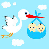 Stork and boys. Cheerful stork transfers in flight newborn baby boys Stock Illustration