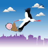 Stork bringing a baby stock illustration