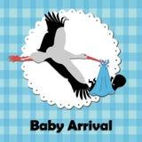 Stork bringing a baby Stock Photo