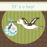 Stork bringing baby boy Stock Photography