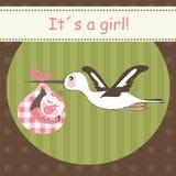 Stork bringing baby girl Stock Photo