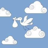 Stork bringing baby Royalty Free Stock Photo
