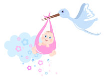 Stork brings baby Royalty Free Stock Images