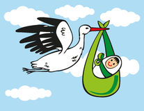 Stork brings baby Royalty Free Stock Photos